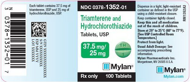 Triamterene and Hydrochlorothiazide Tablets, USP 37.5 mg/25 mg Bottle Label