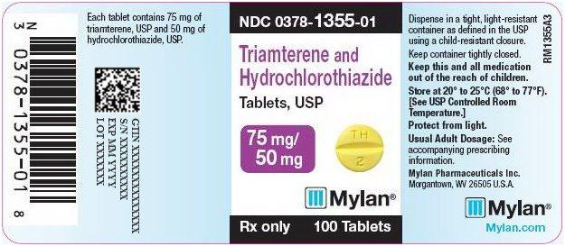Triamterene and Hydrochlorothiazide Tablets, USP 75 mg/50 mg Bottle Label