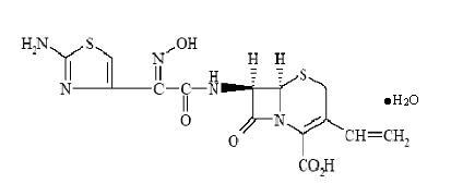 Structural formula for cedfinir monohydrate