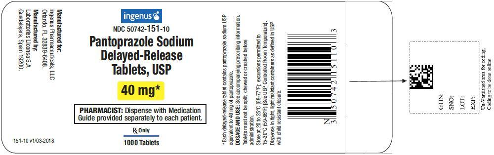 Pantoprazole sodium delayed-release tablets USP, 40 mg - 1000 pack