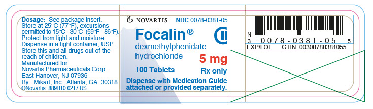 PRINCIPAL DISPLAY PANEL 									NOVARTIS 									NDC: <a href=/NDC/0078-0381-05>0078-0381-05</a> 									Focalin® 									dexmethylphenidate hydrochloride 									5 mg 									100 tablets 									Rx only 									Dispense with Medication Guide attached or provided separately.