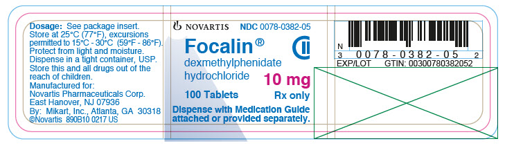 PRINCIPAL DISPLAY PANEL 									NOVARTIS 									NDC: <a href=/NDC/0078-0382-05>0078-0382-05</a> 									Focalin® 									dexmethylphenidate hydrochloride 									10 mg 									100 tablets 									Rx only 									Dispense with Medication Guide attached or provided separately.