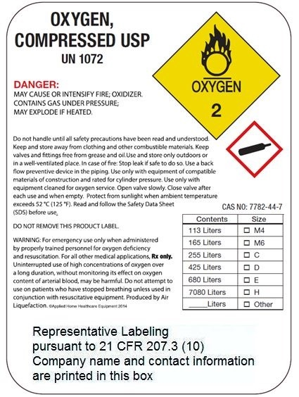 High Pressure Representative Label