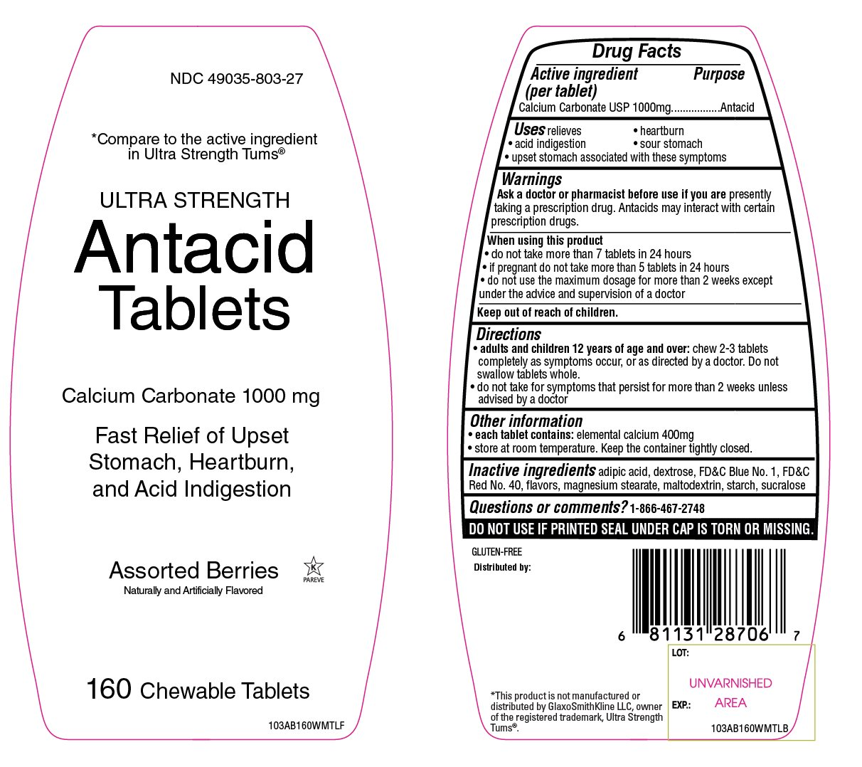Ultra Strength Assorted Berries Antacid 160 Chewable Tablets