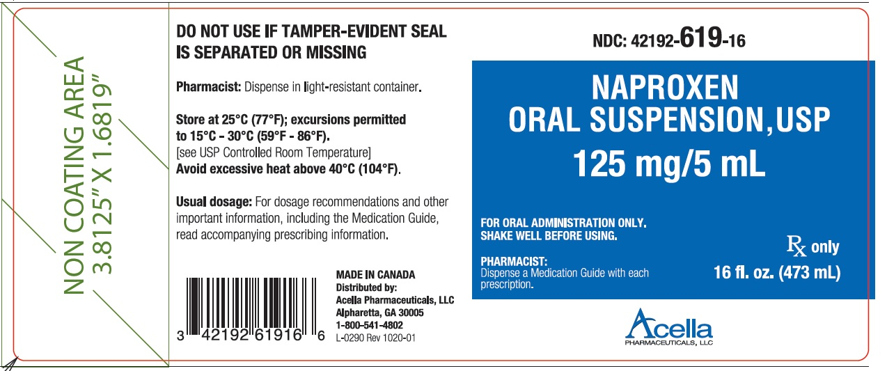 PRINCIPAL DISPLAY PANEL 					 NDC – 42192-619-16 				Naproxen 				(naproxen suspension) 				125 mg/5 mL (contains 39 mg sodium) 				473 mL Bottle 				Rx Only