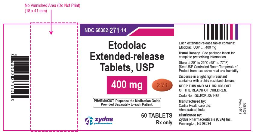 Etodolac Extended-release Tablets USP, 400 mg