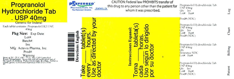 Propranolol Hydrochloride Tab USP 40mg Actavis