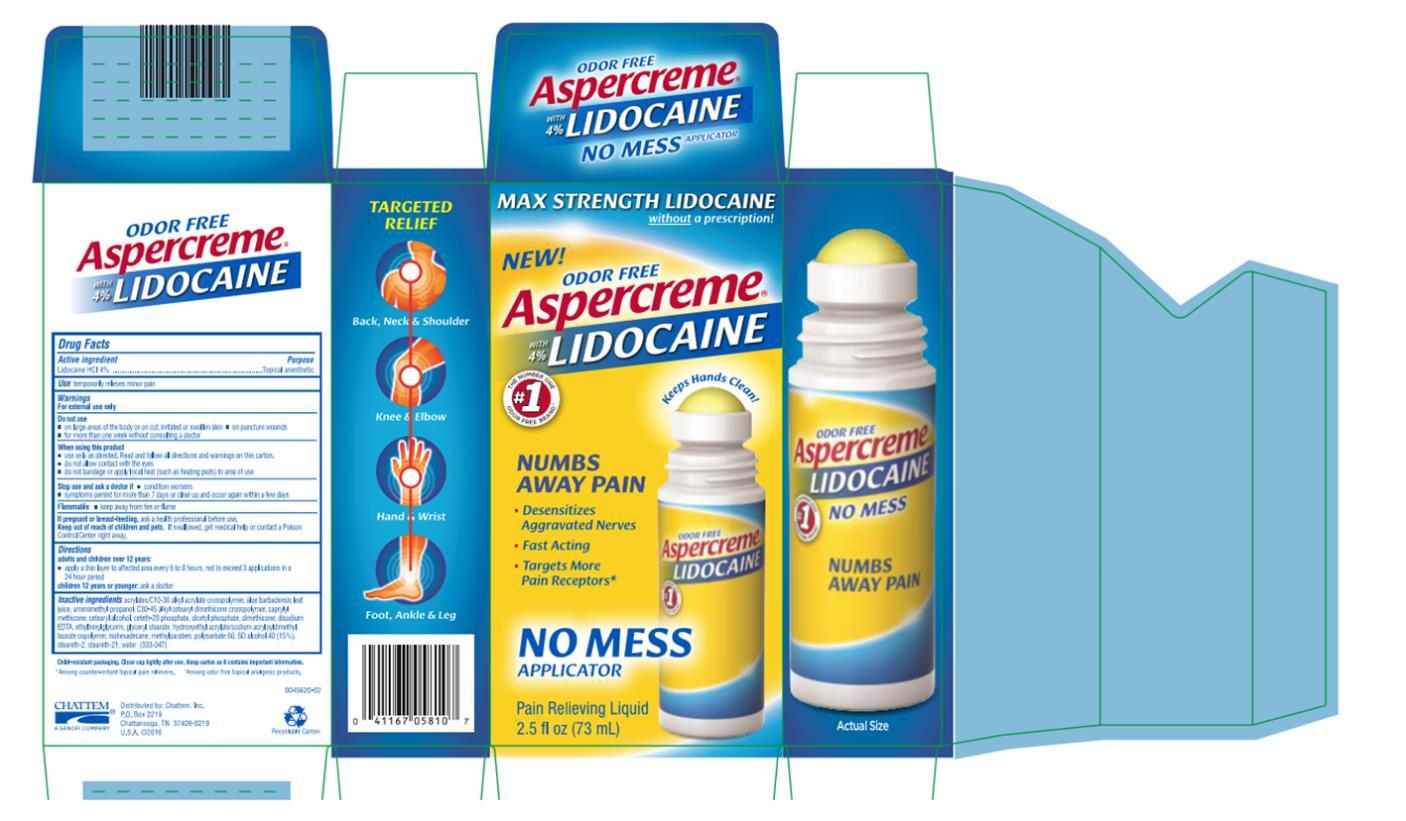 Principal Display Panel Odor free Aspercreme Lidocaine Pain relieving Liquid 2.5 fl oz (73 mL)
