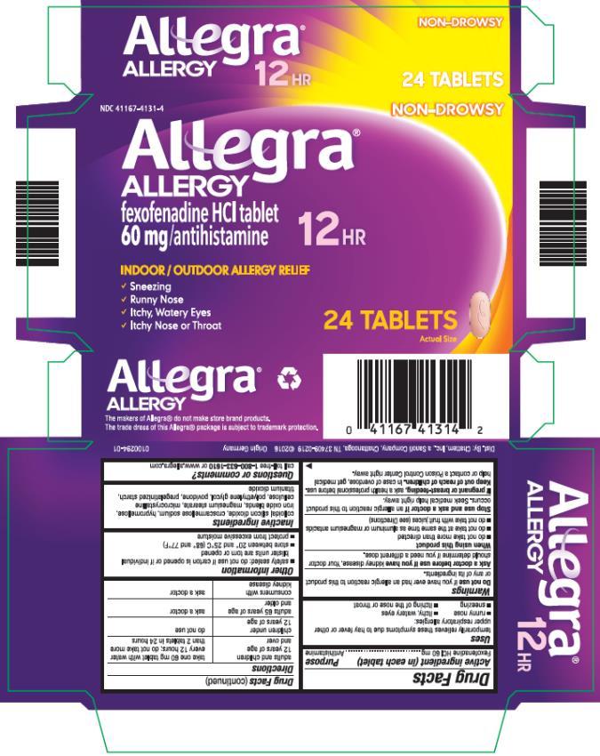 PRINCIPAL DISPLAY PANEL NDC: <a href=/NDC/41167-4131-4>41167-4131-4</a> Allegra ALLERGY 60 mg/ antihistamine 12 HR 24 TABLETS