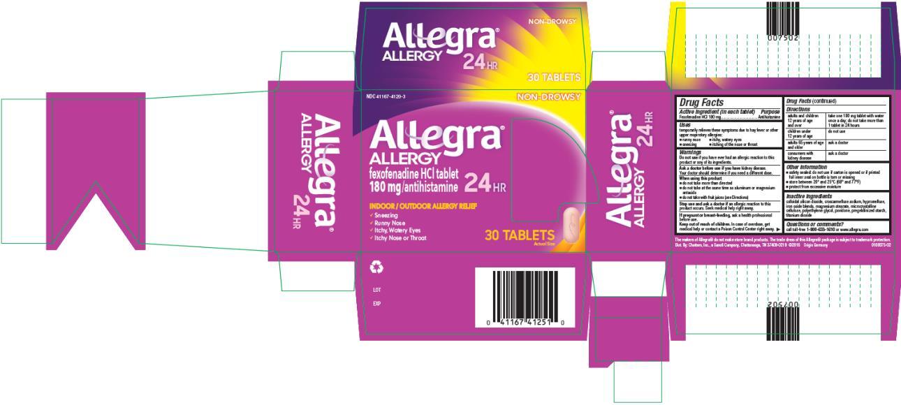 PRINCIPAL DISPLAY PANEL NDC: <a href=/NDC/41167-4120-3>41167-4120-3</a> Allegra ALLERGY 180 mg/ antihistamine 24 HR 30 TABLETS