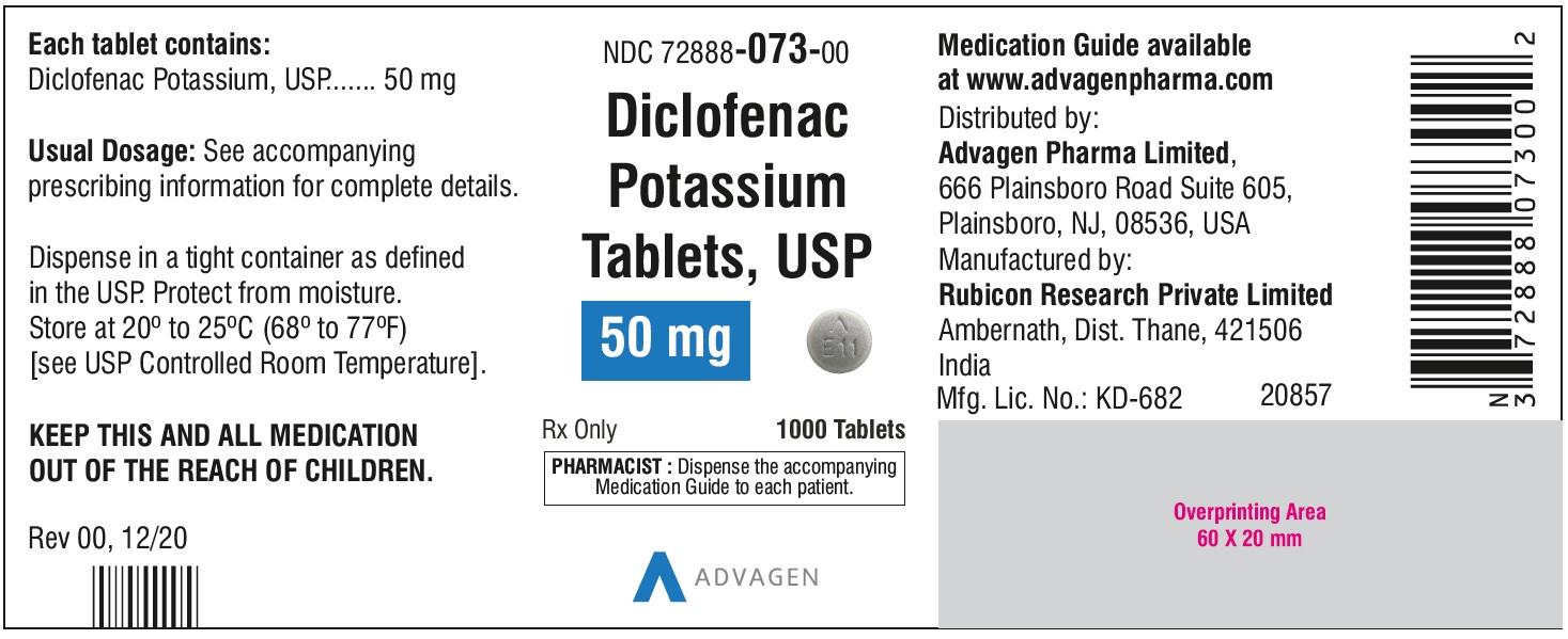 Diclofenac Potassium Tablets,USP 50 mg - NDC: <a href=/NDC/72888-073-00>72888-073-00</a>  - 1000 Tablets Bottle