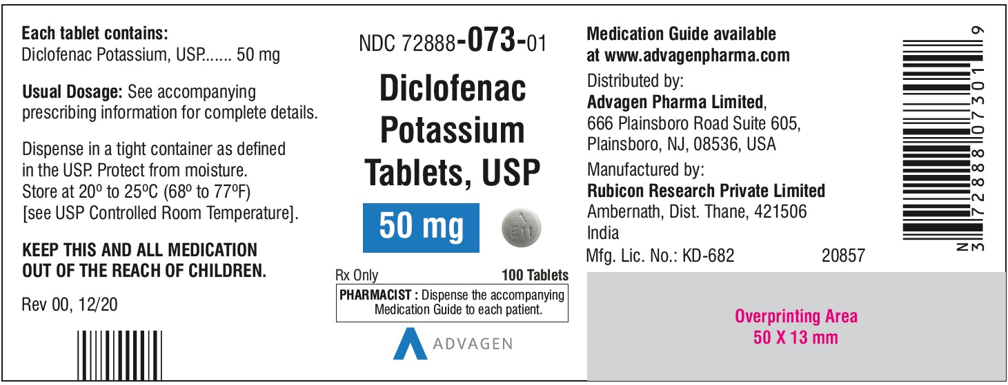 Diclofenac Potassium Tablets,USP 50 mg - NDC: <a href=/NDC/72888-073-01>72888-073-01</a>  - 100 Tablets Bottle