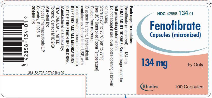 Fenofibrate Capsules [micronized] 134 mg, 100s Label