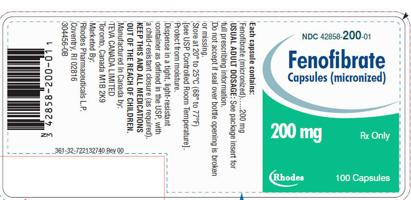 Fenofibrate Capsules [micronized] 200 mg, 100s Label