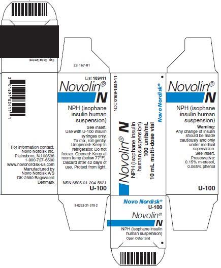 Novolin N vial carton