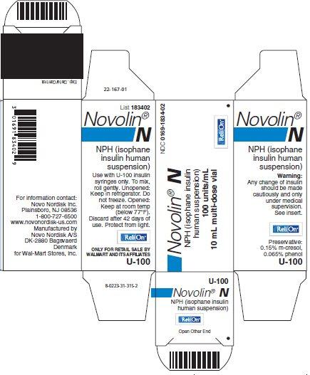 Novolin N vial carton - ReliOn