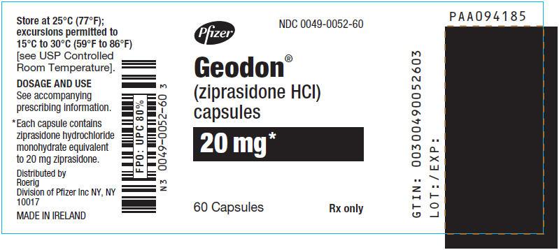 Principal Display Panel - 20 mg Capsule Bottle Label - 0052