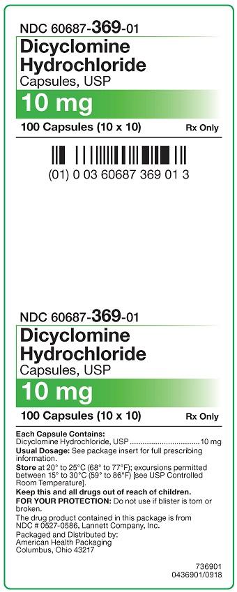 10 mg Dicyclomine HCl Capsules Carton