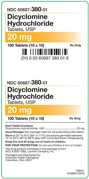 20 mg Dicyclomine HCl Tablets Carton
