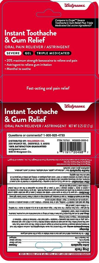 Walgreens Toothache Gum Relief Gel 2821380R1