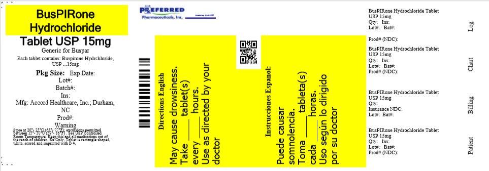 BusPIRone Hydrochloride Tablet USP 15mg