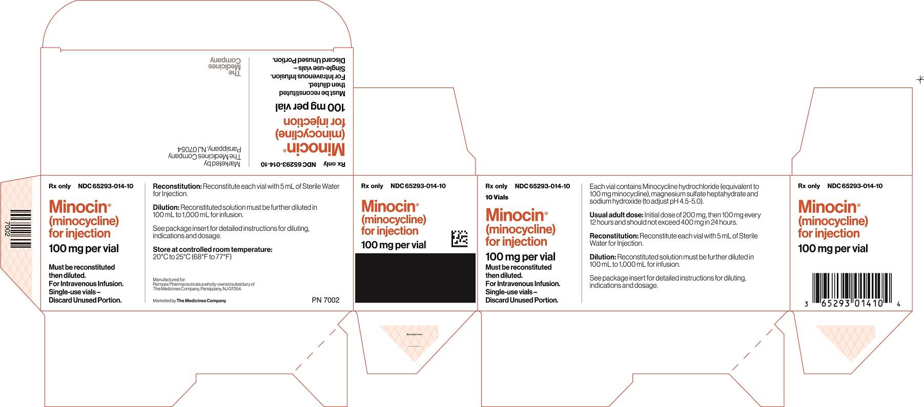 Minocin (minocycline) for injection 100 mg carton