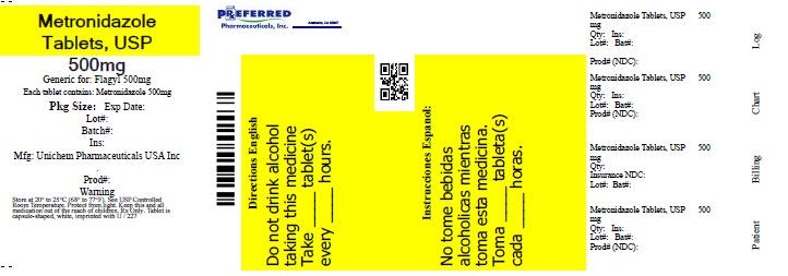 Metromidazole Tablets, USP 500mg