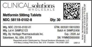 Metformin 500mg tablet 30 count blister card