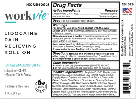 Workvie Lidocaine Roll On Label