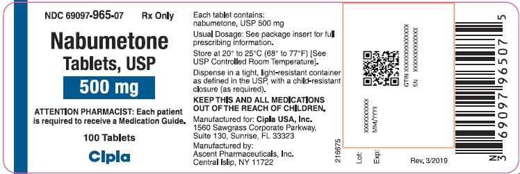 This is a picture of the label Nabumetone tablets, USP, 750 mg, 100 count