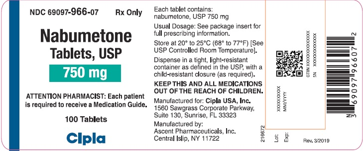 This is a picture of the label Nabumetone tablets, USP, 500 mg, 100 count