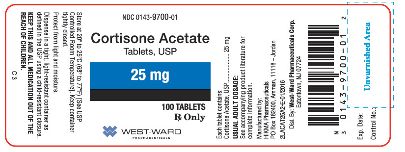 NDC: <a href=/NDC/0143-9700-01>0143-9700-01</a> Cortison Acetate Tablets, USP 25 mg Rx Only 100 Tablets