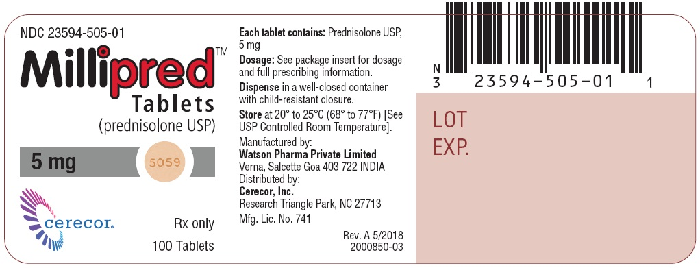 NDC: <a href=/NDC/23594-505-01>23594-505-01</a> Millipred Tablets (prednisolone USP) 5 mg Zylera 100 Tablets Rx only