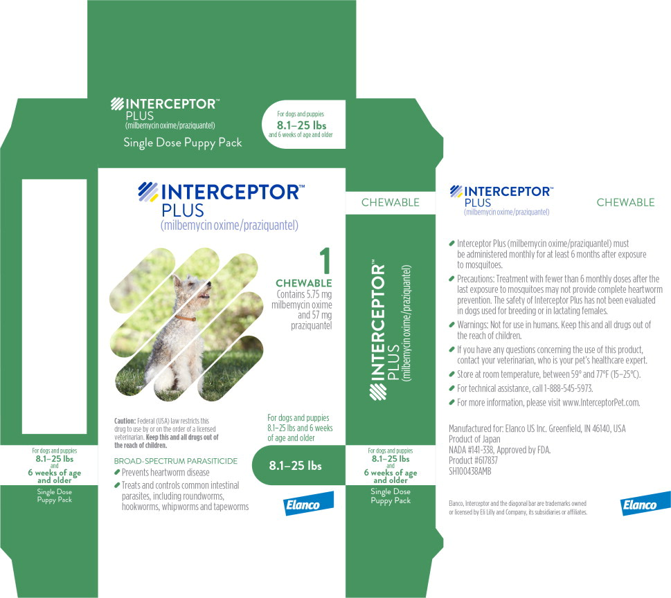 Principal Display Panel - Interceptor Plus 8.1-25 lbs 1 Chewable Label