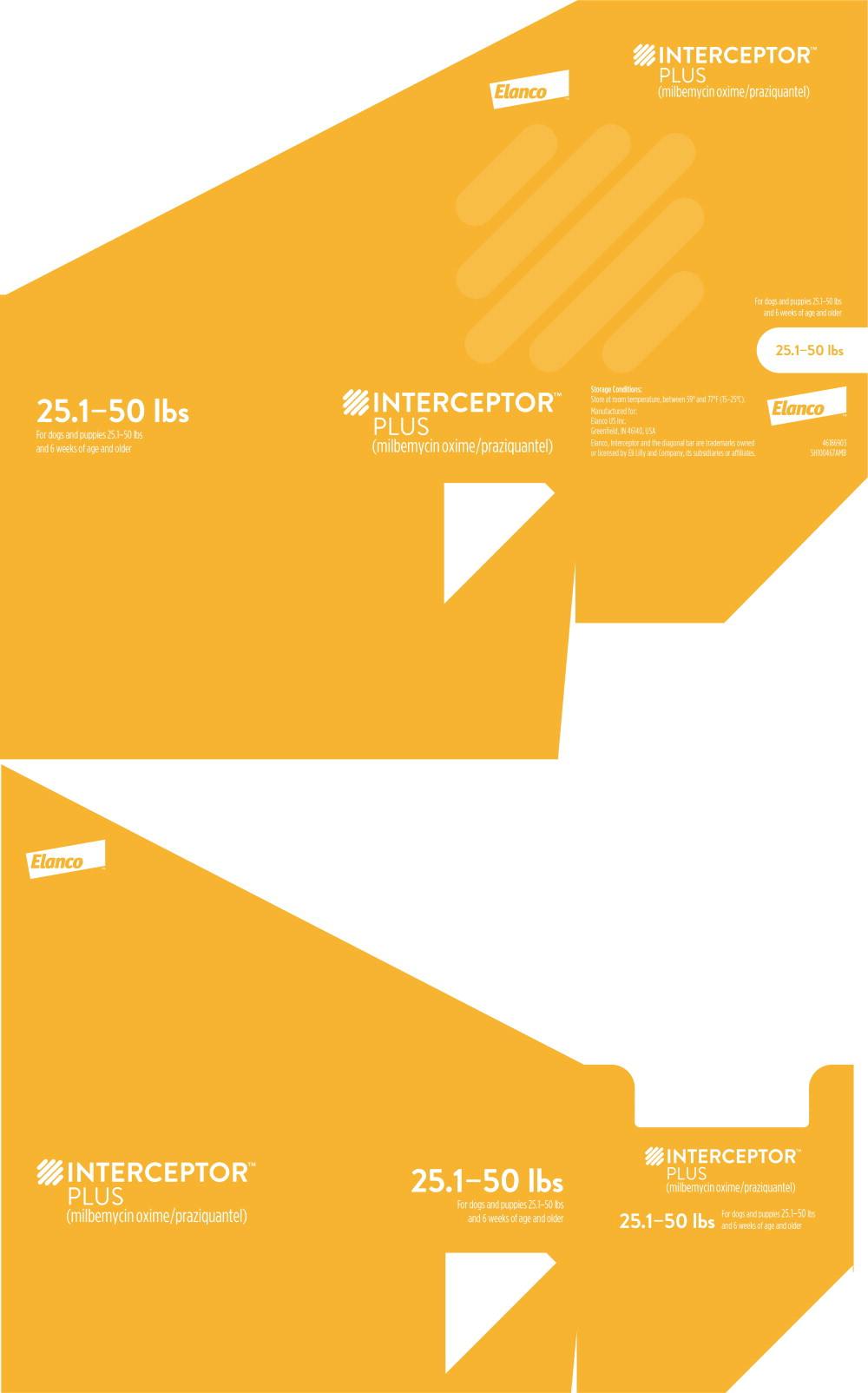 Principal Display Panel - Interceptor Plus 25.1-50 lbs Box Label
