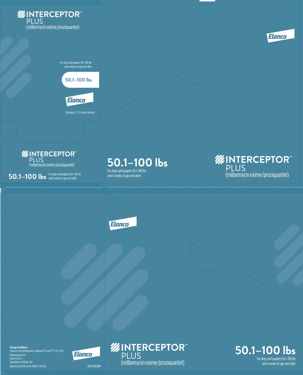 Principal Display Panel - Interceptor Plus 50.1-100 lbs Box Label
