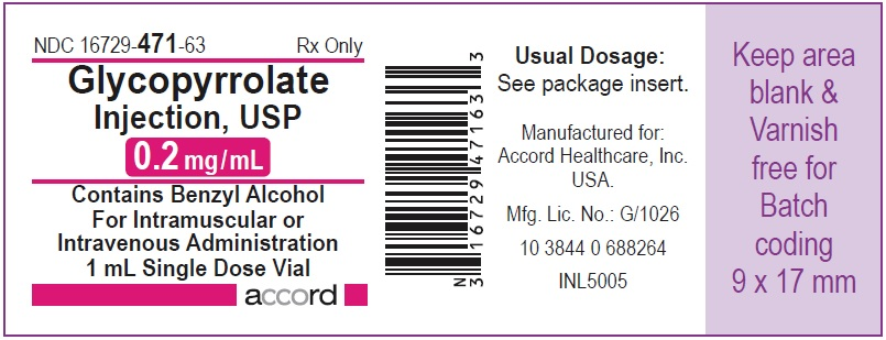 Glycopyrrolate injection, USP 0.2 mg/mL 1 mL Single Dose Vial
