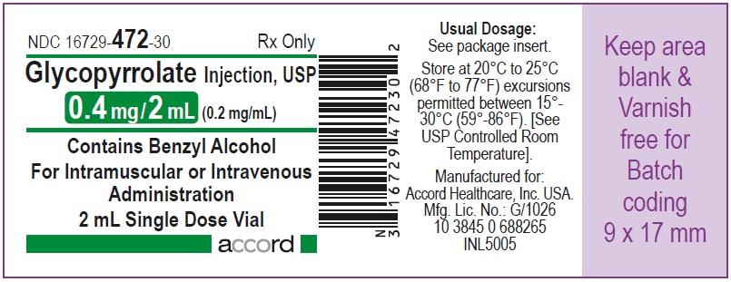 Glycopyrrolate injection, USP 0.4 mg/2 mL (0.2 mg/mL) 2 mL Single Dose Vial