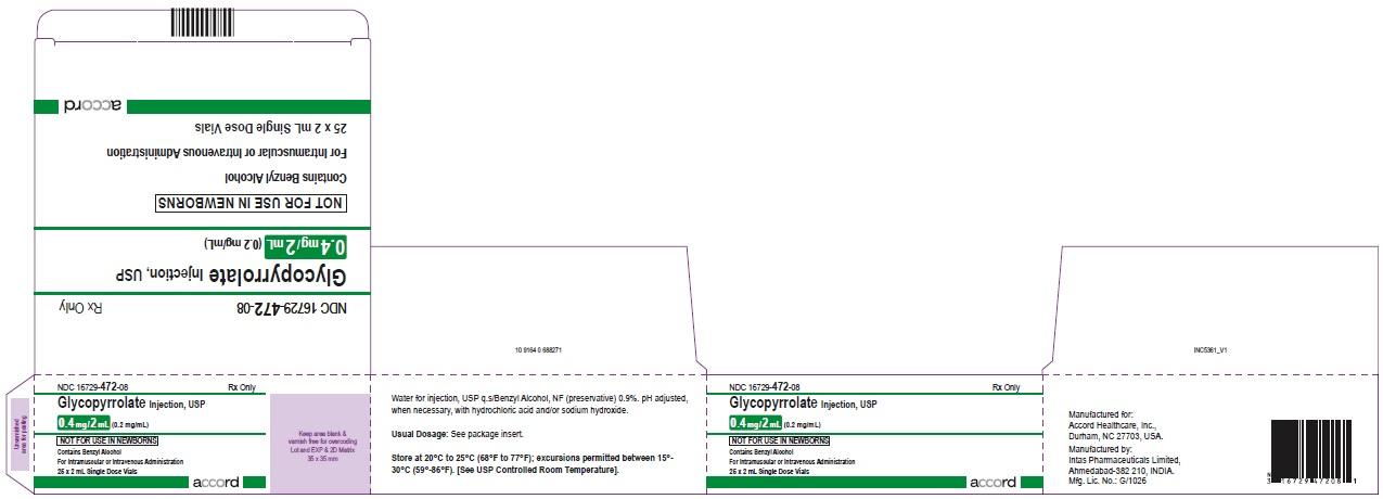 Glycopyrrolate injection, USP 0.4 mg/2 mL (0.2 mg/mL) 25 x 2 mL Single Dose Vials