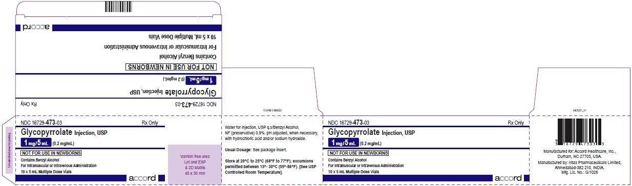 Glycopyrrolate injection, USP 1 mg/5 mL (0.2 mg/mL) 10 x 5 mL Multiple Dose Vials