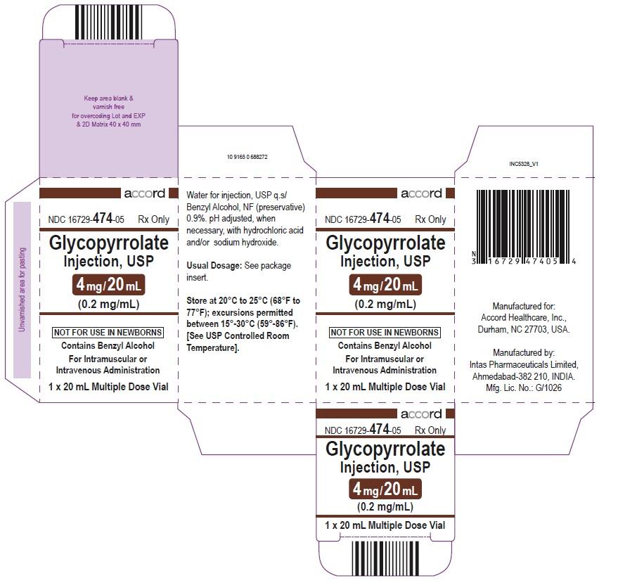 Glycopyrrolate injection, USP 4 mg/20 mL (0.2 mg/mL) 20 mL Multiple Dose Vial-Mono carton