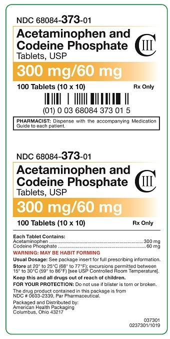 300 mg/60 mg Acetaminophen and Codeine Phosphate Tablets Carton