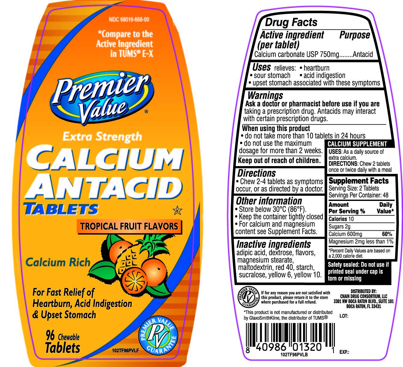 Premier Value Extra Strength Tropical Fruit Antacid Tablets