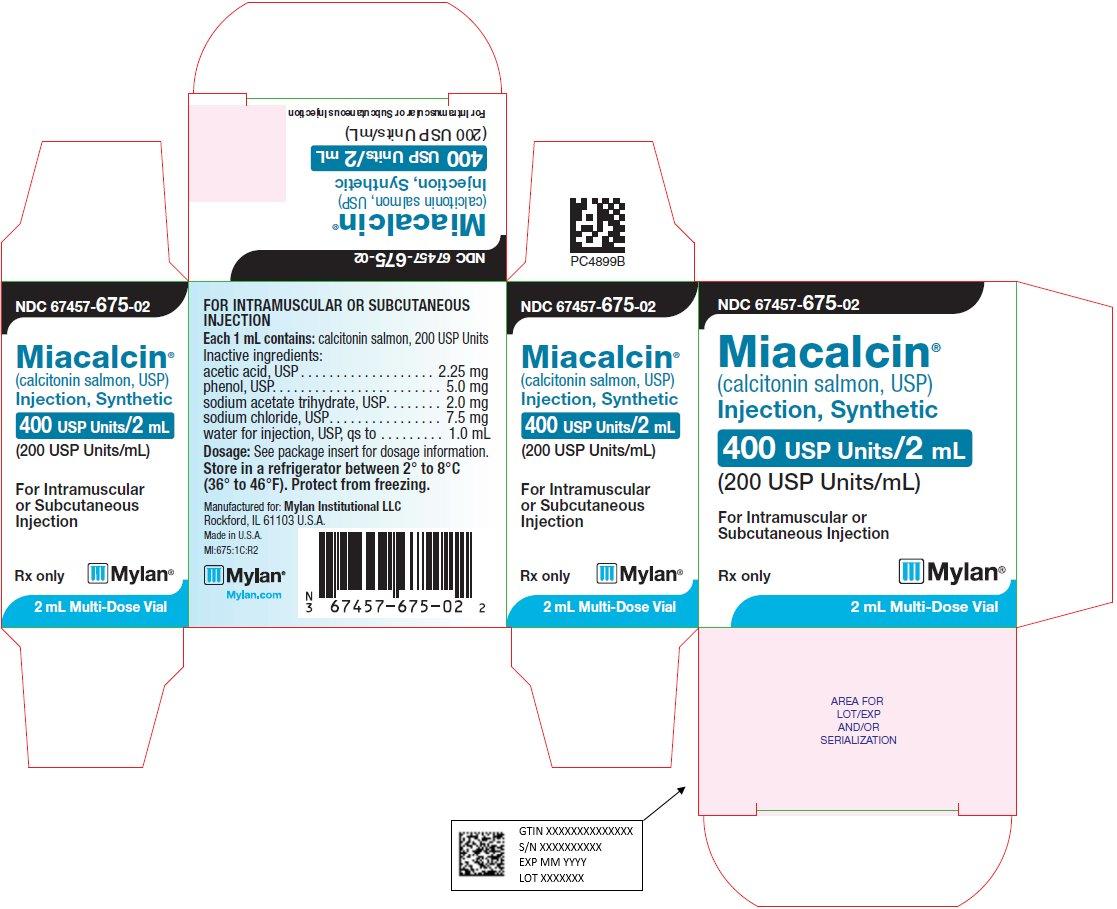Miacalcin Injection, Synthetic 400 I.U. per 2 mL Carton Label
