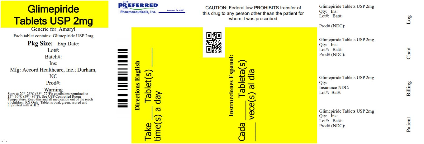 Glimepiride Tablets USP 2mg