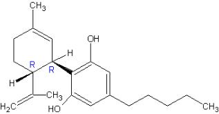 The chemical structure for Cannabidiol is a cannabinoid designated chemically as 2-[(1R,6R)-3-Methyl-6-(1-methylethenyl)-2-cyclohexen-1-yl]-5-pentyl-1,3-benzenediol (IUPAC/CAS). Its empirical formula is C21H30O2 and its molecular weight is 314.46.