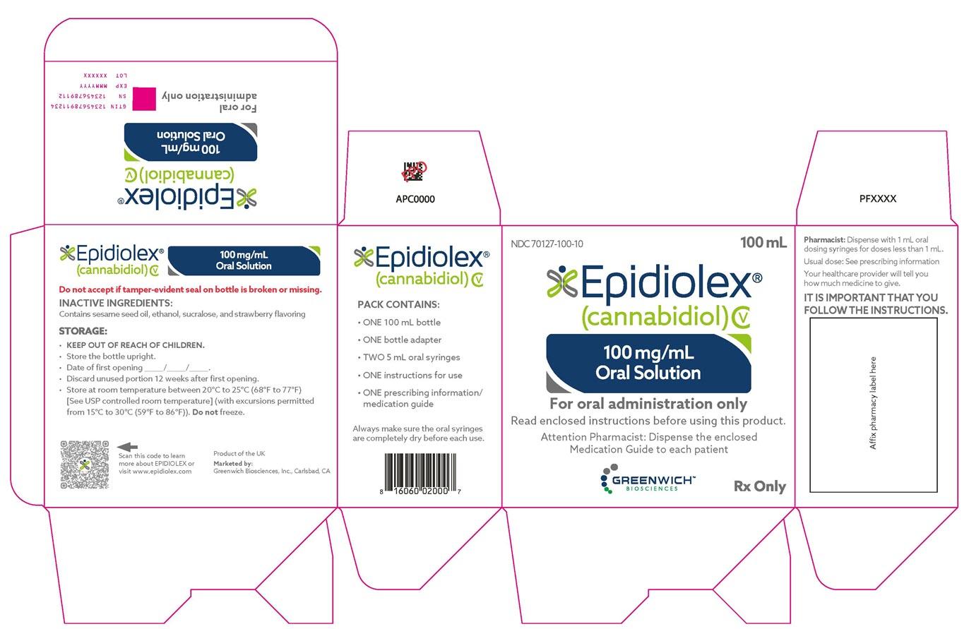 PRINCIPAL DISPLAY PANEL NDC: <a href=/NDC/70127-100-10>70127-100-10</a> EPIDIOLEX (cannabidiol) 100 mg/mL oral solution