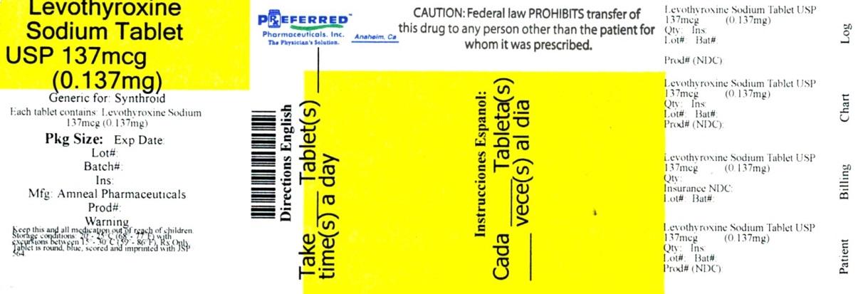 Levothyroxine Sodium Tablets USP 137mcg 0 137mg