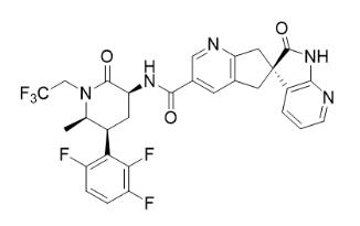 The active ingredient of TRADENAME is atogepant, a calcitonin gene-related peptide (CGRP) receptor antagonist. The chemical name of atogepant is (S)-N-((3S,5S,6R)-6-methyl-2-oxo-1-(2,2,2-trifluoroethyl)-5-(2,3,6-trifluorophenyl)piperidin-3-yl)-2'-oxo-1',2',5,7-tetrahydrospiro[cyclopenta[b]pyridine-6,3'-pyrrolo[2,3-b]pyridine]-3-carboxamide and has the following structural formula: