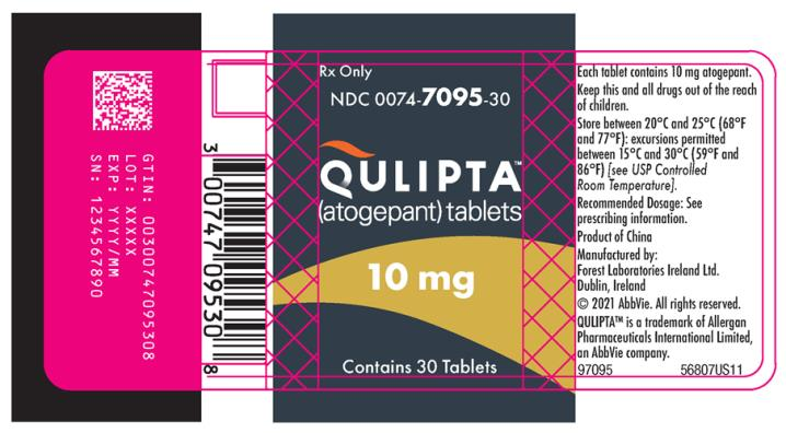 PRINCIPAL DISPLAY PANEL NDC: <a href=/NDC/0074-7095-30>0074-7095-30</a> QULIPTA™ (atogepant) tablets 10 mg Rx Only Contains 30 Tablets